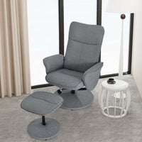 Fabric Massage Swivel Lounge Recliner with Ottoman-Gray