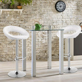 Set of 2 Bar Stools Adjustable  Leather like Swivel Chairs-White