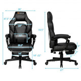 Massage Gaming Chair with Footrest and Lumbar Support-Black