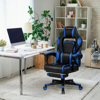 Massage Gaming Chair with Footrest and Lumbar Support
