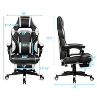 Massage Gaming Chair with Footrest and Lumbar Support-White