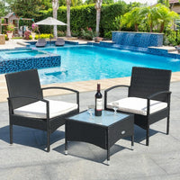 3 pcs Patio Wicker Rattan Furniture Set - White Cushion
