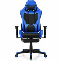 PU Leather Gaming Chair with USB Massage Lumbar Pillow and Footrest -Blue