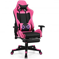 PU Leather Gaming Chair with USB Massage Lumbar Pillow and Footrest -Pink