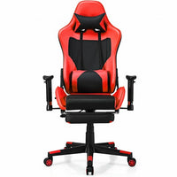 PU Leather Gaming Chair with USB Massage Lumbar Pillow and Footrest-Red