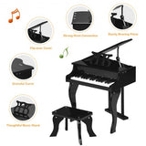 Classic 30 Key Baby Grand Wooden Piano with Bench-Black
