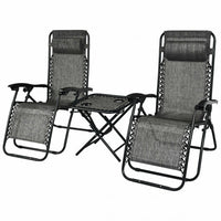 3 pcs Folding Portable  Reclining Lounge Chairs Table-Gray