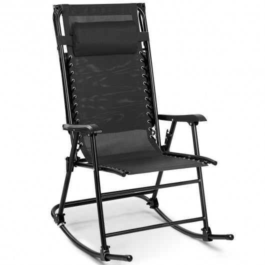 Folding Rocking Chair Rocker -Black