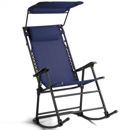 Folding Rocking Chair Rocker Porch-Dark Blue