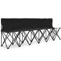 Portable Folding 6 Seats Chair -Sports Bench-Black
