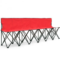 Portable Folding 6 Seats Chair - Sports Bench-Red
