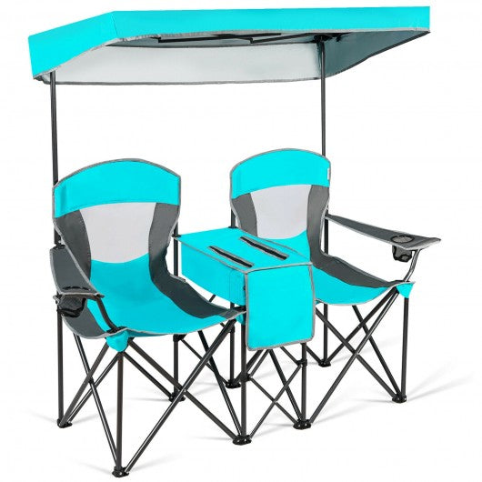 Folding Camping Canopy Chairs w- Cup Holder-Turquoise