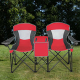 Portable Folding  Canopy Chairs w- Cup Holder-Red