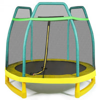 7FT Kids Trampoline W- Safety Enclosure Net-Green