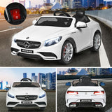 12 V Mercedes-Benz S63 Licensed Kids Ride On Car-White (remote control)