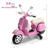 6V Kids Ride on Vespa Scooter Motorcycle with Headlight-Pink