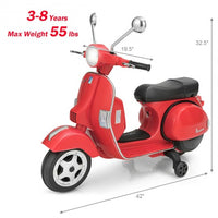 6V Kids Ride on Vespa Scooter Motorcycle with Headlight-Red