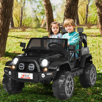 12V 2 Seater Kids Ride On Car w- Storage Room-Black