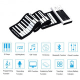 61 Key Electronic Roll up Silicone Rechargeable Piano Keyboard-White