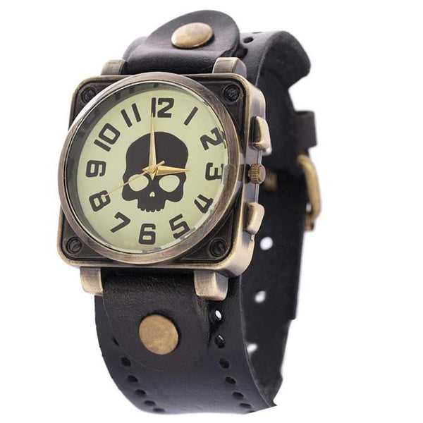 SKULL LOOK...!!!! Watches Vintage Quartz Analog Punk Watch
