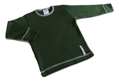Merino Wool Long Sleeve T-shirt - GREEN FOREST