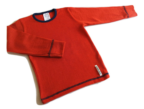 Merino Wool Long Sleeve T-shirt - ORANGE
