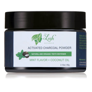 Organic Activated Charcoal teeth Whitening Powder + Coconut Oil + Mint Flavor