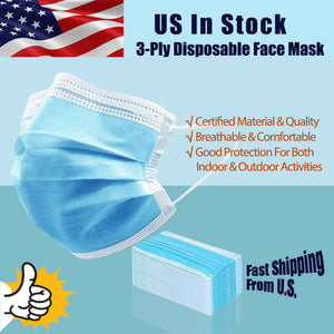 3 Layers Blue Face Mask Respirator Protection Breathable Disposable (Pack of 10)