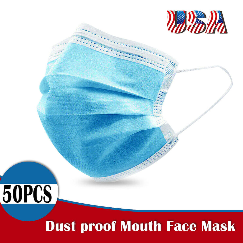 3 Layers Blue Face Mask Respirator Protection Breathable Disposable (Pack of 50)