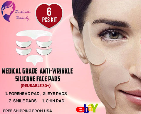 Anti-wrinkle Silicone Face, Forehead, Eyes, Mouth Chin Pads Set Kit