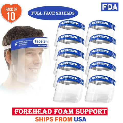 Full Face Safety Shields Reusable Washable (Pack of 10)
