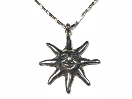Beautiful Ladies Sterling Silver Sunburst Pendant & Necklace - MEXICO - Wow!