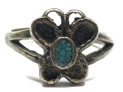 ebc5a4642 Quick View · Vintage Ladies Native American Sterling Silver Butterly  Turquoise Ring - SZ 4.25 ...