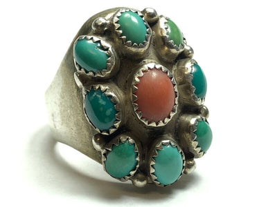 533eb5854 Quick View · Vintage Men's Native American Sterling Silver Turquoise &  Coral Ring ...