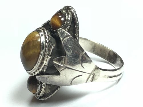 Beautiful Ladies Sterling Silver Tiger's Eye Ring - MEXICO - Wow! Size 10.25