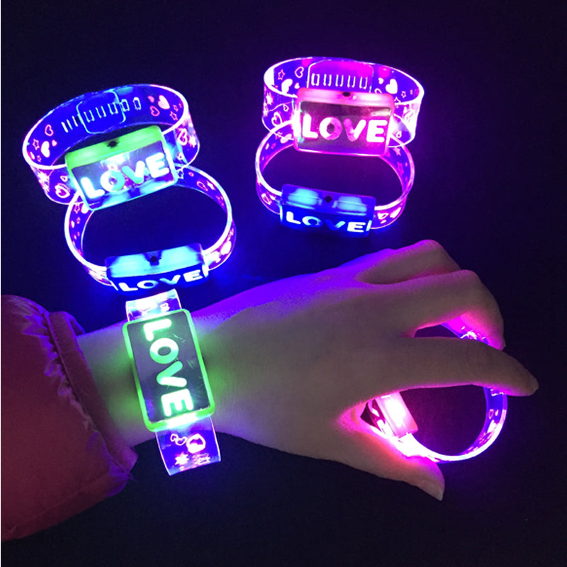 "LED Glowing ""Love & Happy"" Bracelets (12 Count)"