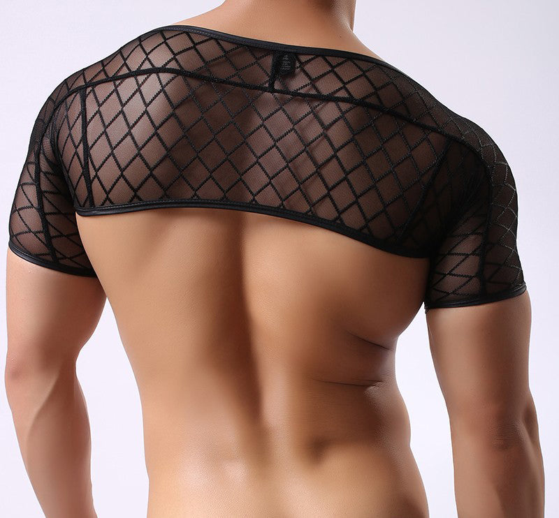 Men's Mesh Short Sleeve Crop Top