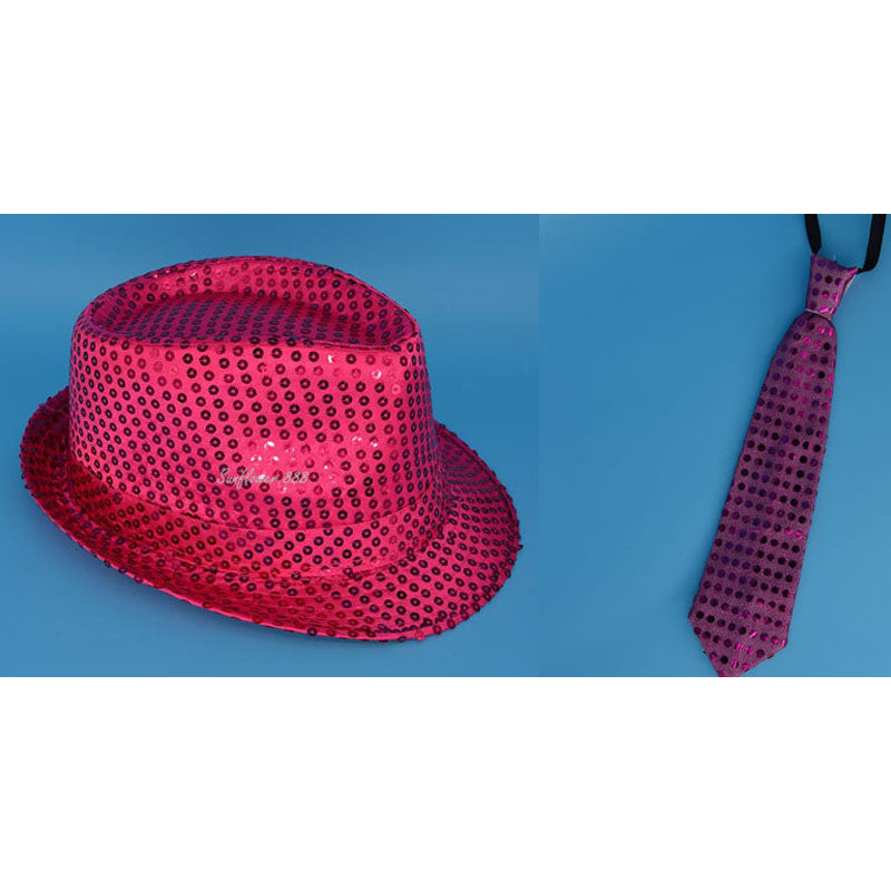 LED Flashing Sequin Jazz Hat, Necktie, and Bowtie (Multiple Colors)