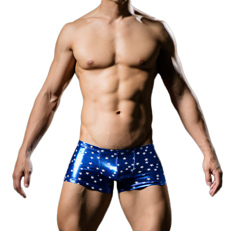 Blue Metallic Compression Shorts With White Stars Front View