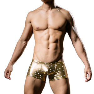 Gold Metallic Compression Shorts With White Stars Front View