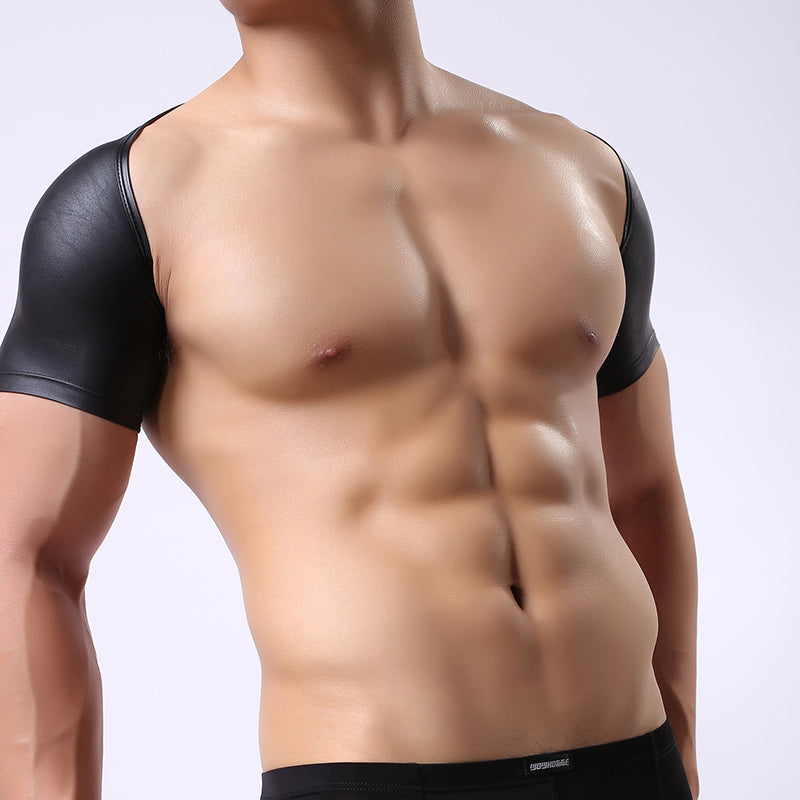 Men's Faux Leather Short Sleeve Crop Top