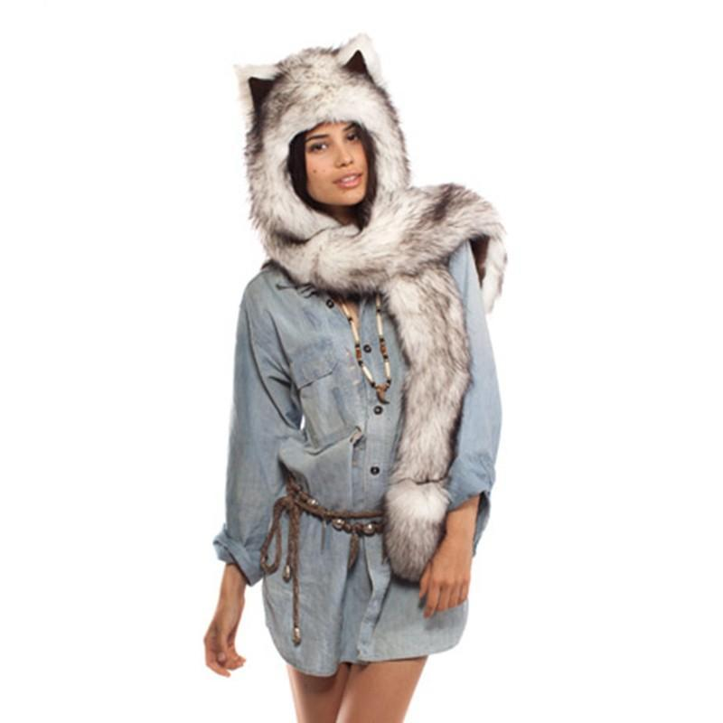 Faux Fur Spirit Hood hat (6 Animals)