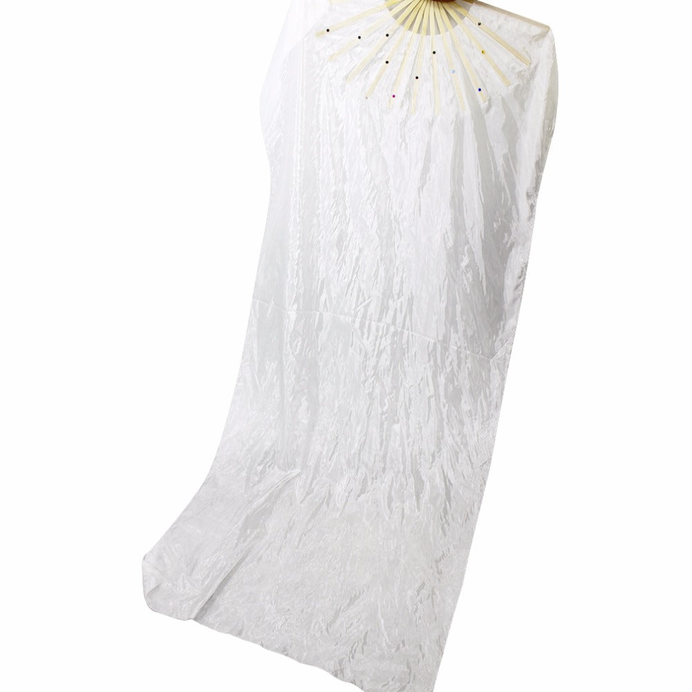 Bamboo Long White Silk Folding Fan with Veil
