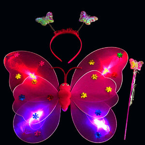 LED Flashing Fairy Butterfly Wings (Wand & Headband Inc.)