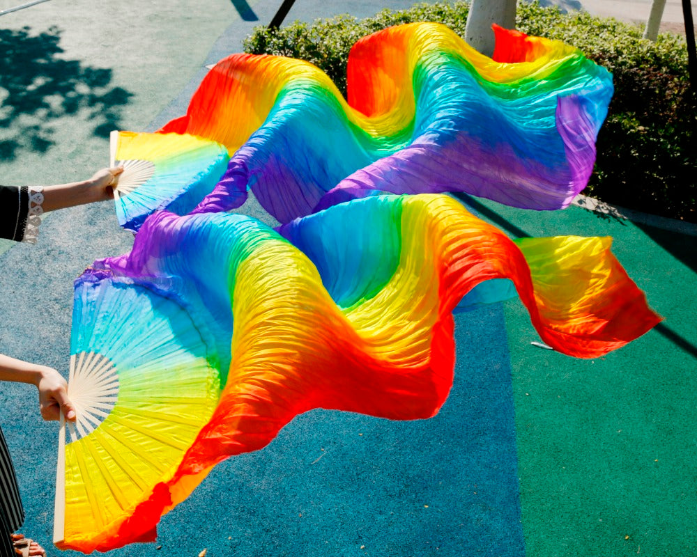 Rainbow Long Silk Bamboo Folding Fan (1 Pair, R+L Hand)