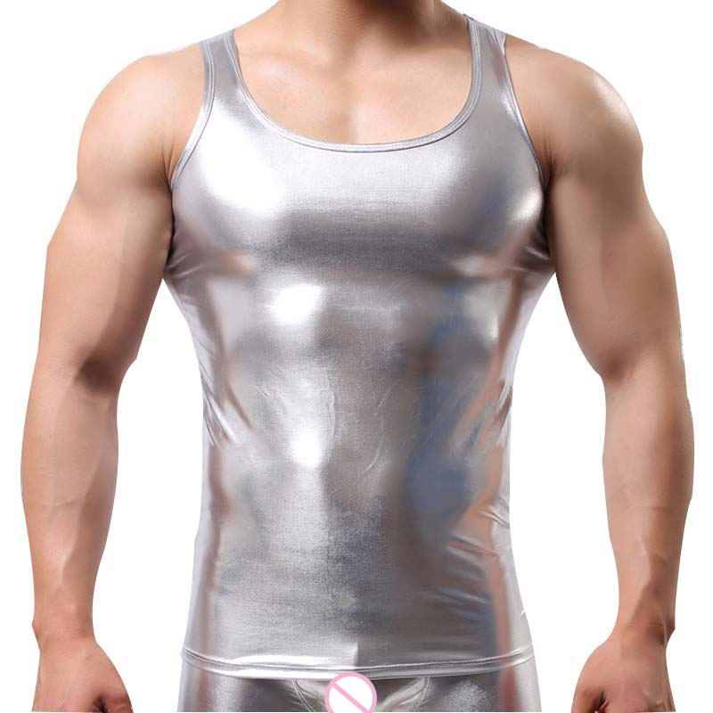 Faux Leather Metallic Tank Top (Multiple Colors)
