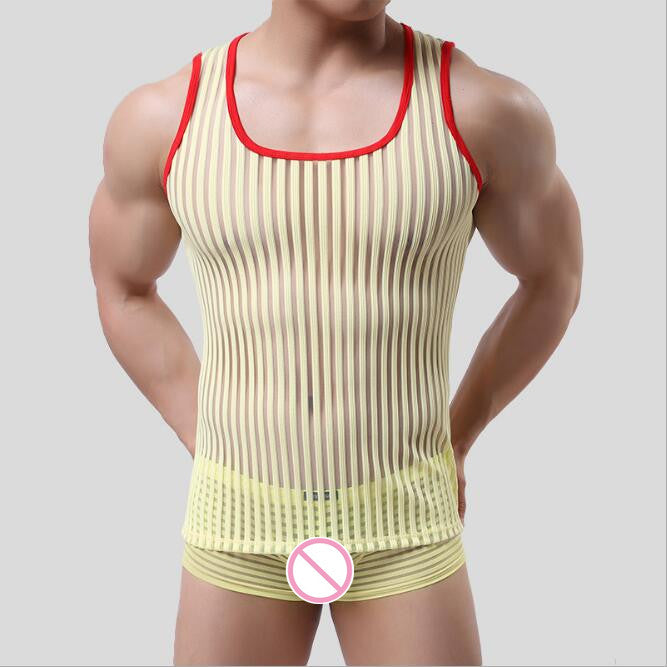 Vertical Striped Sheer Tank Top (Multiple Colors)