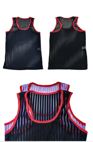 Men's Vertical Striped Sheer Tank Top (Multiple Colors)
