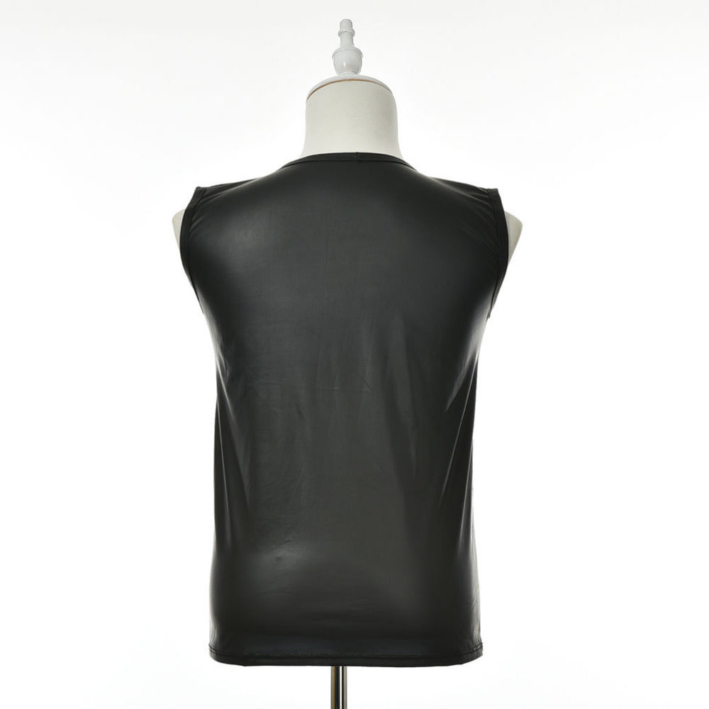 Faux Leather Sleeveless Shirt