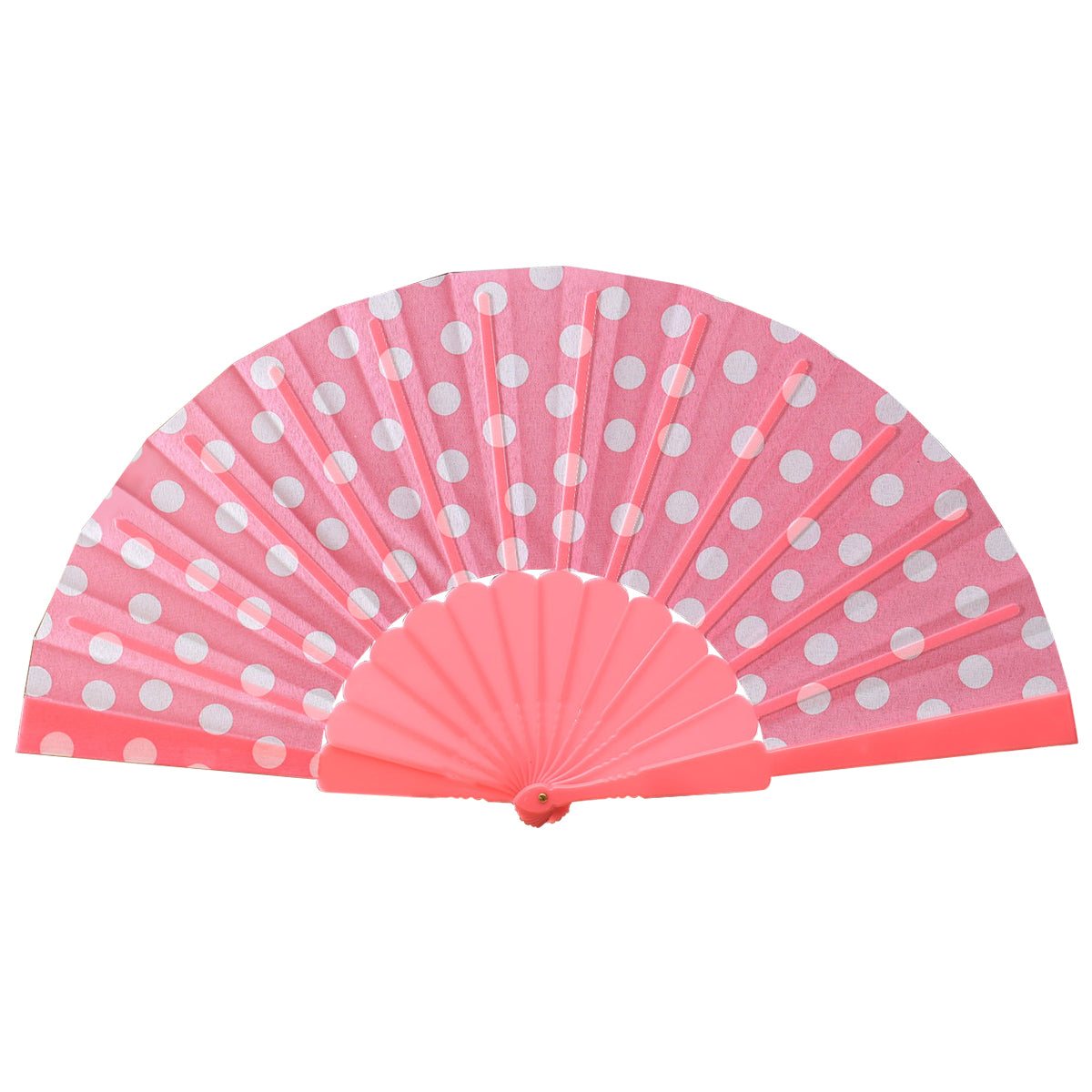 Polka-Dot Folding Fan (Pink+white)